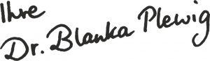 Handschrift Blanka Plewig